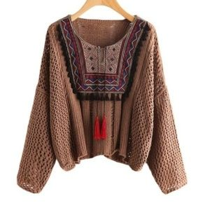 Sweaters - Brown Knitted Tribal Print Tassle Sweater